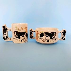 Holstein cows bowl and cup set
